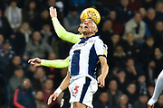 West Bromwich Albion defender Kieran Gibbs (3) heads the ball  during the EFL Sky Bet Championship match between West Bromwich Albion and Sheffield United at The Hawthorns, West Bromwich, England on 23 February 2019.