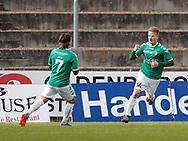 FODBOLD: Målscorer Nichlas Rohde (AB) jubler med Kristian Uth efter scoringen til 1-0 under kampen i NordicBet Ligaen mellem AB og FC Helsingør den 11. maj 2017 på Helsingør Stadion. Foto: Claus Birch