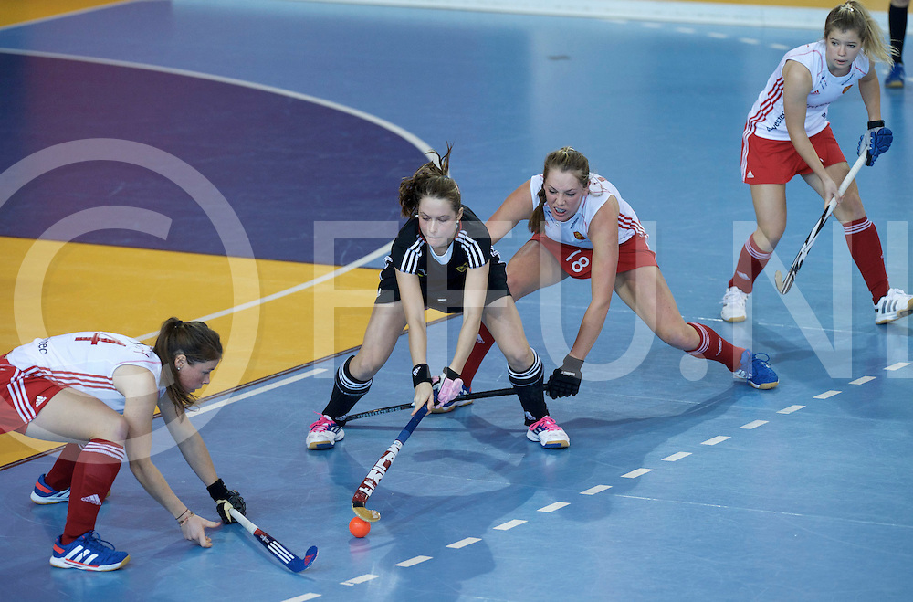 Prague - EuroHockey Indoor Championship (W) 2014<br /> 11 GER v ENG (Pool A)<br /> foto: Johanna Lee and Giselle Anshley defening Celine Pieper.<br /> FFU PRESS AGENCY COPYRIGHT FRANK UIJLENBROEK