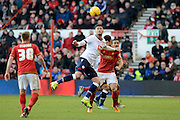 Bolton Wanderers striker Gary Madine wins a header during the Sky Bet Championship match between Nottingham Forest and Bolton Wanderers at the City Ground, Nottingham, England on 16 January 2016. Photo by Alan Franklin.