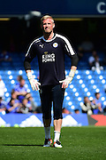 Leicester City Goalkeeper Kasper Schmeichel (1) reflects before the Barclays Premier League match between Chelsea and Leicester City at Stamford Bridge, London, England on 15 May 2016. Photo by Jon Bromley.