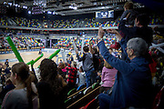 UNITED KINGDOM, London: 2015 World Wheelchair Rugby Challenge. Caption: Fans cheer on their teams from the stands of the Copperbox Arena. Rick Findler / Story Picture Agency