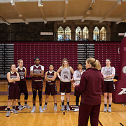 December 16, 2016 - New York, NY :  Fordham University Women's Basketball coach Stephanie Gaitley, foreground, leads the team in practice in Rose Hill Gymnasium on Friday. CREDIT: Karsten Moran for The New York Times