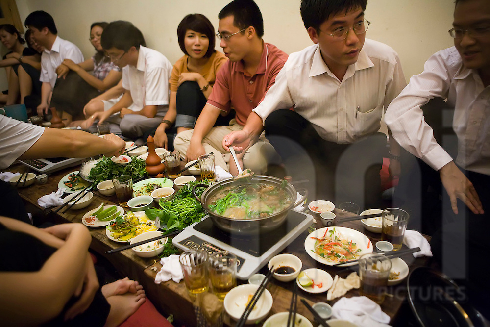 A gathering at Chim Sao restaurant in Hanoi, Vietnam, Southeast Asia