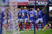 Adam McGurk scores the opening goal during the Capital One Cup match between Portsmouth and Derby County at Fratton Park, Portsmouth, England on 12 August 2015. Photo by Adam Rivers.