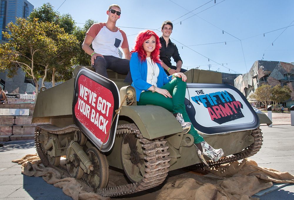 Three young stars show their support for the Fifth Army &amp; HeadSpace at an event at Federation Square. The three rode in an army style tank and signed up young followers to support the Fifth Army. .Singer song writer Sarah De Bono (with Red Hair).James Mason (in black shirt) aka Chris Pappas from TV show Neighbours.Trent &quot;Maxi&quot; Maxwell (White T-Shirt) Lifeguard from TV show Bondi Rescue.Photo By Craig Sillitoe This photograph can be used for non commercial uses with attribution. Credit: Craig Sillitoe Photography / http://www.csillitoe.com<br />