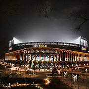 An exterior night shot of Citi Field, home of the New York Mets during the New York Mets V Los Angeles Dodgers Baseball game at Citi Field, Queens, New York. 24th April 2012. Photo Tim Clayton