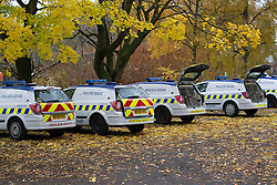© Licensed to London News Pictures . 13/11/2012 . Manchester , UK . Police dog vans . Specialist handlers from Greater Manchester Police put police dogs through their paces at a training event . Greater Manchester Police are appealing for members of the public to donate unwanted dogs to the force . Photo credit : Joel Goodman/LNP