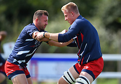 Andy Uren of Bristol United and James Dun of Bristol United during warm-up - Mandatory by-line: Paul Knight/JMP - 16/09/2017 - RUGBY - Hornets RFC - Weston-super-Mare, England - Bristol United v Bath United - Aviva A League