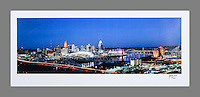 Signed and numbered 13x30 poster of the Cincinnati skyline taken at twilight