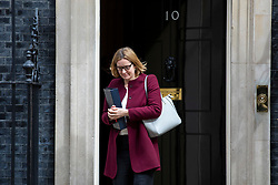© Licensed to London News Pictures. 24/04/2018. London, UK. Home Secretary Amber Rudd leaves 10 Downing Street after the weekly Cabinet meeting. Photo credit: Rob Pinney/LNP