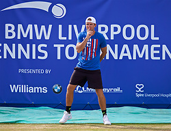 LIVERPOOL, ENGLAND - Saturday, June 23, 2018: Robert Kendrick (USA) acts as a stand in line judge during day three of the Williams BMW Liverpool International Tennis Tournament 2018 at Aigburth Cricket Club. (Pic by Paul Greenwood/Propaganda)