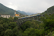 Centovalli Railway. A train crossing the bridge at Intragna.