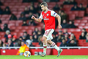 Arsenal defender Sokratis Papastathopoulos (5) during the Europa League match between Arsenal and Eintracht Frankfurt at the Emirates Stadium, London, England on 28 November 2019.