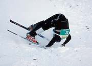 Kazakhstan's Andrey Sokolov wipes out during the qualifying round in the men's World Cup freestyle skiing moguls event at the Deer Valley Resort, Jan. 14, 2010, in Park City, Utah.  (AP Photo/Colin E Braley)..