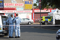 © Licensed to London News Pictures. 27/07/2018. London UK: Police seal off Bective road in Forest Gate after shots were fired from a car being chased by armed officers on Thursday evening. Police say three men have been arrested and charged with attempted murder , Photo credit: Steve Poston/LNP