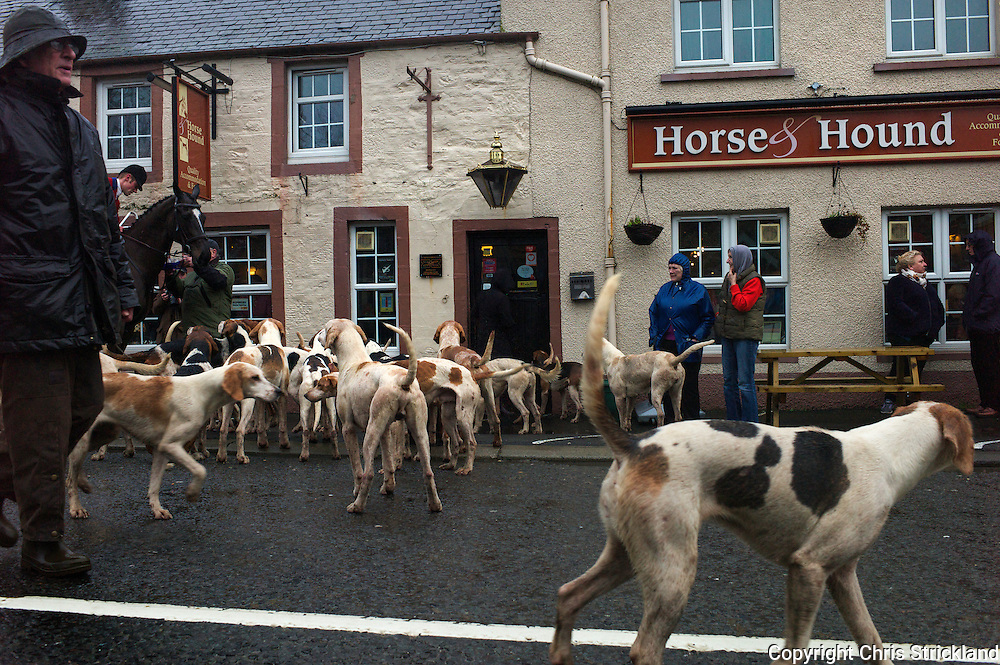 The traditional New Years Day meet in Bonchester Bridge hosted by the Horse and Hound Inn.