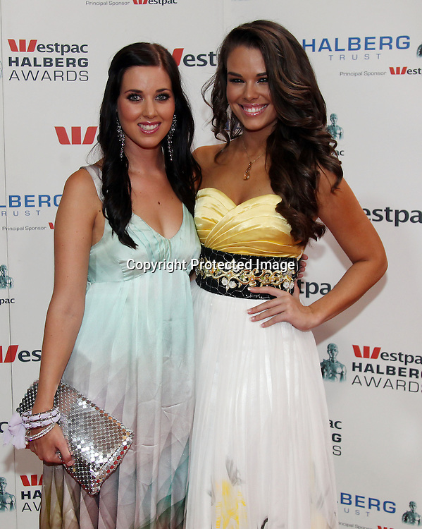 Kate Solley and Miss Universe New Zealand 2010 Ria van Dyke during the The Westpac Halberg Awards, Skycity Grand Hotel, Auckland. 10 February 2011. Photo: Andrew Cornaga/photosport.co.nz