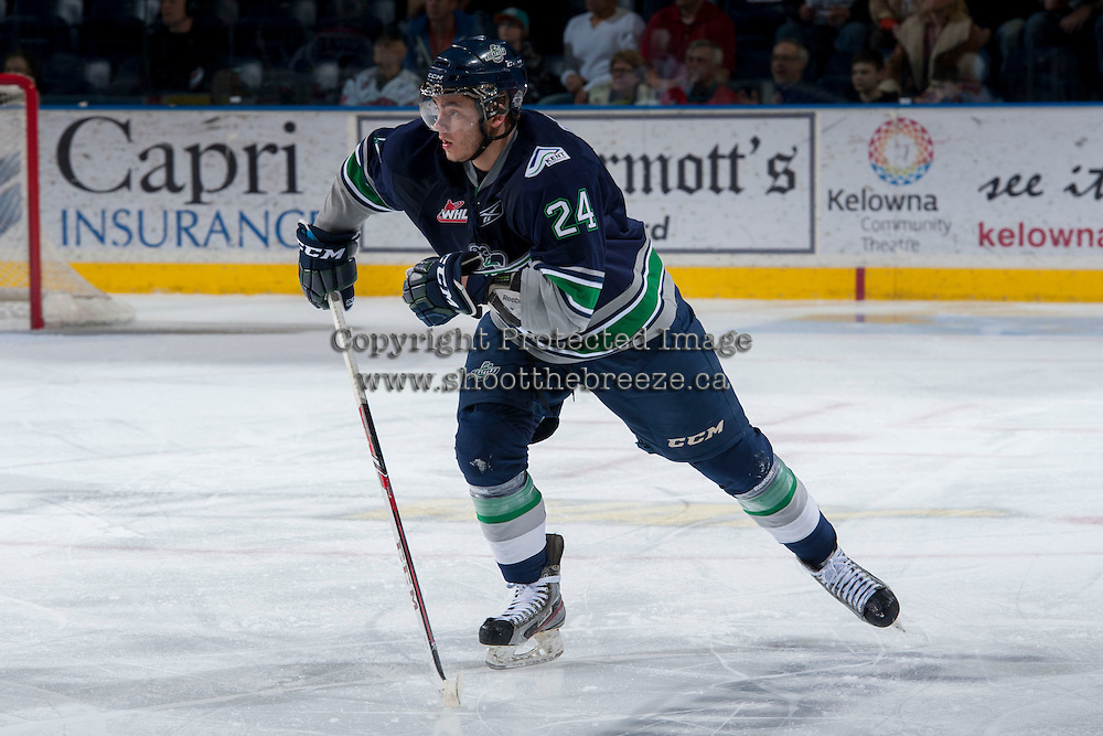 KELOWNA, CANADA - APRIL 3: Alexander Delnov #24 of the Seattle Thunderbirds skates against the Kelowna Rockets on April 3, 2014 during Game 1 of the second round of WHL Playoffs at Prospera Place in Kelowna, British Columbia, Canada.   (Photo by Marissa Baecker/Getty Images)  *** Local Caption *** Alexander Delnov;