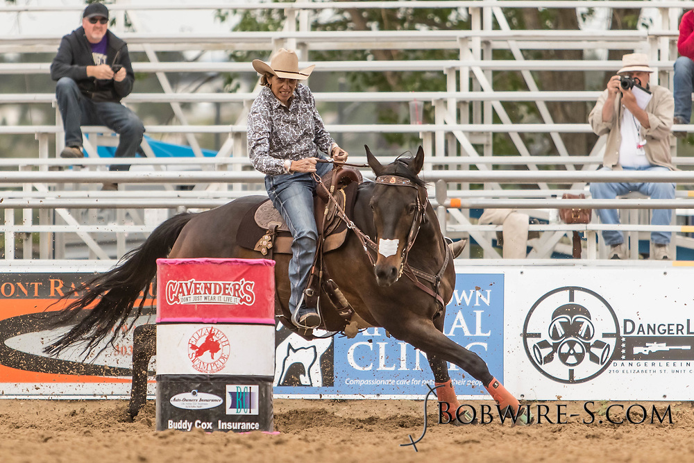 Carol Ruggieri makes her barrel racing run during slack at the Elizabeth Stampede on Sunday, June 3, 2018.