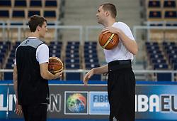 Goran Dragic and Uros Slokar of Slovenia during the practice session, on September 11, 2009 in Arena Lodz, Hala Sportowa, Lodz, Poland.  (Photo by Vid Ponikvar / Sportida)