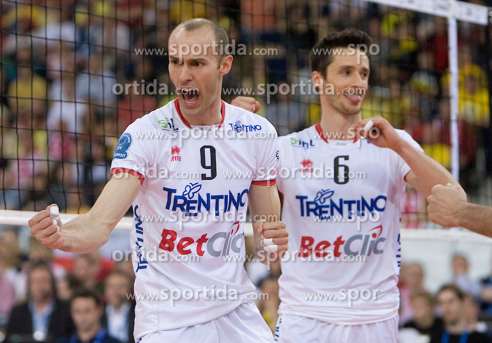 Andrea Sala and Lukasz Zygadlo of Trentino celebrate at 2nd Semifinal match of CEV Indesit Champions League FINAL FOUR tournament between ACH Volley, Bled, SLO and Trentino BetClic Volley, ITA, on May 1, 2010, at Arena Atlas, Lodz, Poland. Trentino defeated ACH 3-1. (Photo by Vid Ponikvar / Sportida)