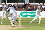 Paul Horton catches Wayne Madsen during the Specsavers County Champ Div 2 match between Leicestershire County Cricket Club and Derbyshire County Cricket Club at the Fischer County Ground, Grace Road, Leicester, United Kingdom on 28 May 2019.