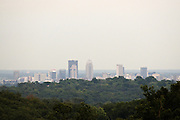 A view of downtown Louisville through the hills above Corydon Pike at Stone Mountain Chalets, Thursday, July 26, 2012, at Liquid Sound Studios on Corydon Pike in New Albany, Ind. (Photo by Brian Bohannon)