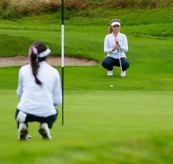 Auchterarder, Scotland, UK. 10 September 2019. Day one of the Junior Solheim Cup 2019 at the Centenary Course at Gleneagles. Tuesday Morning Foursomes. Pictured Brianna Navarrosa (l) and Briana Chacon of USA line up a putt. Iain Masterton/Alamy Live News
