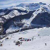Limone Piemonte, Italy - March 21, 2016: ski track in popular tourist resort of Limone Piemonte in Italy.