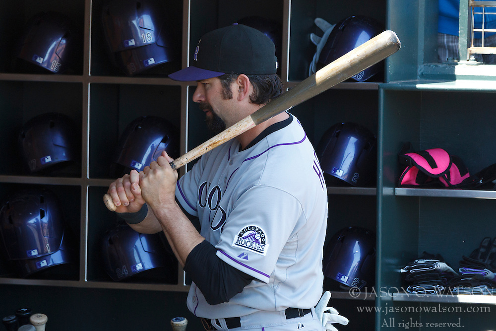 SAN FRANCISCO, CA - MAY 26: Todd Helton #17 of the Colorado Rockies swings a bat in the dugout before the game against the San Francisco Giants at AT&T Park on May 26, 2013 in San Francisco, California. The San Francisco Giants defeated the Colorado Rockies 7-3. (Photo by Jason O. Watson/Getty Images) *** Local Caption *** Todd Helton