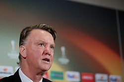 MANCHESTER, ENGLAND - Wednesday, March 16, 2016: Manchester United's manager Louis van Gaal during a press conference at Old Trafford ahead of the UEFA Europa League Round of 16 2nd Leg match against Liverpool. (Pic by David Rawcliffe/Propaganda)
