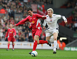LIVERPOOL, ENGLAND - SUNDAY MARCH 27th 2005: Liverpool Legends' Robbie Fowler and Celebrity XI's Nicky Byrne during the Tsunami Soccer Aid match at Anfield. (Pic by David Rawcliffe/Propaganda)