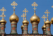 Golden domes of the Terim Palace at The Kremlin, Moscow, Russia