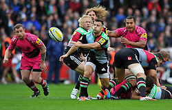 Danny Care of Harlequins passes the ball - Photo mandatory by-line: Patrick Khachfe/JMP - Mobile: 07966 386802 04/10/2014 - SPORT - RUGBY UNION - London - The Twickenham Stoop - Harlequins v London Welsh - Aviva Premiership
