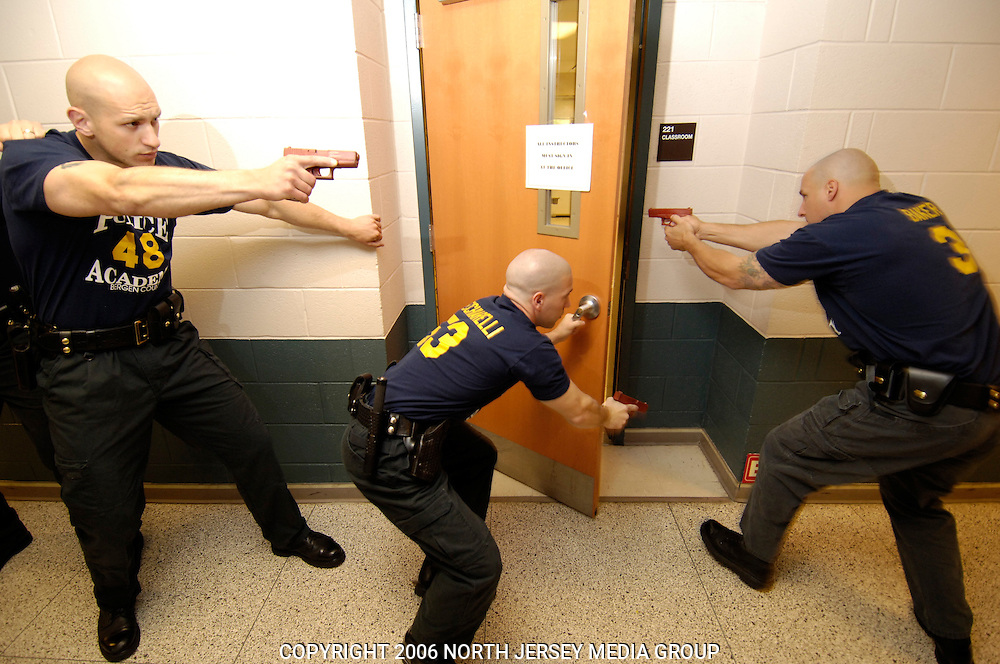 County of Bergen Department of Public Safety - Basic Police Class #96 - Recruits receive training on how to safely enter a room and clear it.