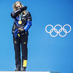 February 14, 2018 - Stockholm, Sweden - OS i Pyeongchang 2018    Stina Nilsson tar emot sin guldmedalj för 1:a-platsen i sprinten (Credit Image: © Orre Pontus/Aftonbladet/IBL via ZUMA Wire)