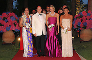 MONTE-CARLO, MONACO - AUGUST 05:  HRH Princess Caroline of Hanover, HSH Prince Albert II of Monaco, HSH Princess Charlene of Monaco and Princess Stephanie of Monaco attend the 63rd Red Cross Ball Gala at  Monte-Carlo Sporting on August 5, 2011 in Monte-Carlo, Monaco.  (Photo by Tony Barson/WireImage)