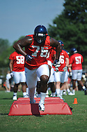 Ole Miss' A.J. Hawkins (76) goes through a drill as Ole Miss began football practice in Oxford, Miss. on Saturday, August 4, 2012.
