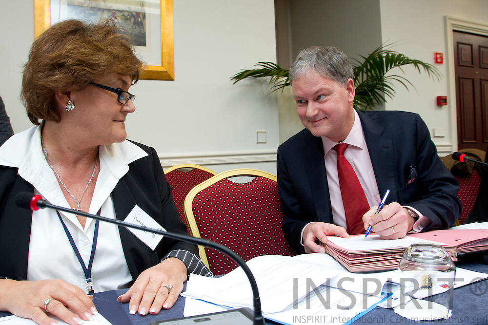From left Zsuzsanna Jakab, Regional Director for WHO Europe, and Dr Marc Sprenger, Director for European Centre for Disease Prevention and Control (ECDC) during a signing an administrative agreement between the two organizations at the World Health Organization and European Commission Summit in Brussels Friday 25 March 2011. PHOTO: ERIK LUNTANG / INSPIRIT Photo.