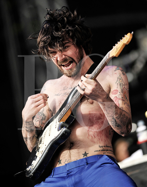 KINROSS, UNITED KINGDOM - JULY 11: Lead singer of Biffy Clyro, Simon Neil performs on the main stage during the third day of T In The Park Festival at Balado on July 11, 2010 in Kinross, Scotland. (Photo by Ross Gilmore)