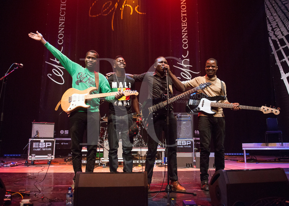 Aliou Toure of Songhoy Blues performs on stage as part of the 2015 Celtic Connections Festival at Glasgow Royal Concert Hall on January 25, 2015 in Glasgow, United Kingdom. Photo by Ross Gilmore