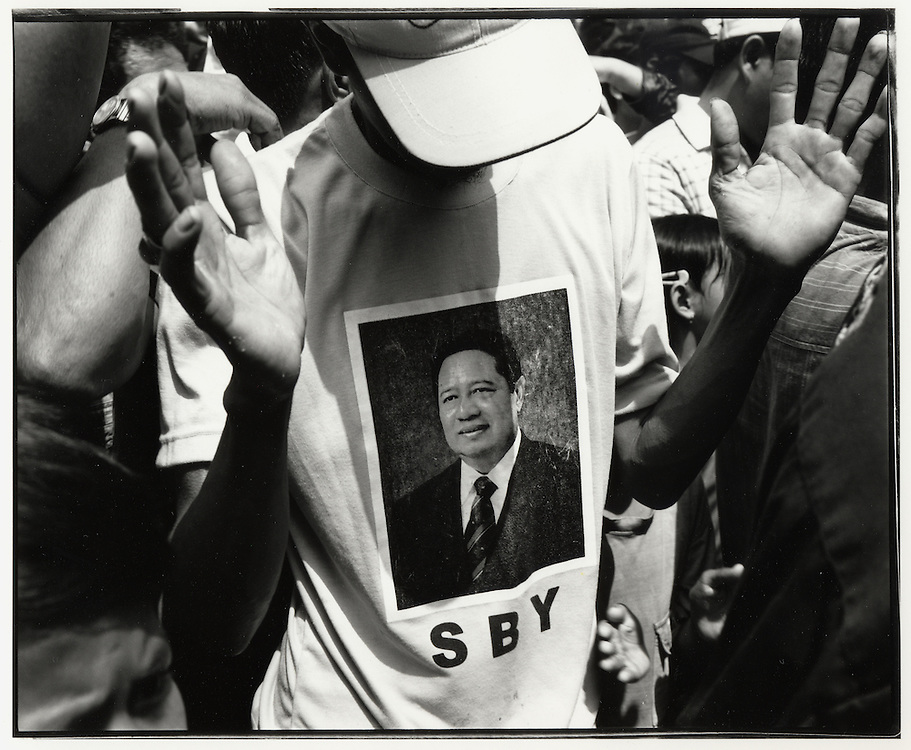 A supporter wears a Susilio Bambang Yudhoyono (SBY) T-shirt at Independence celebrations in Jakarta Indonesia August 17 2004