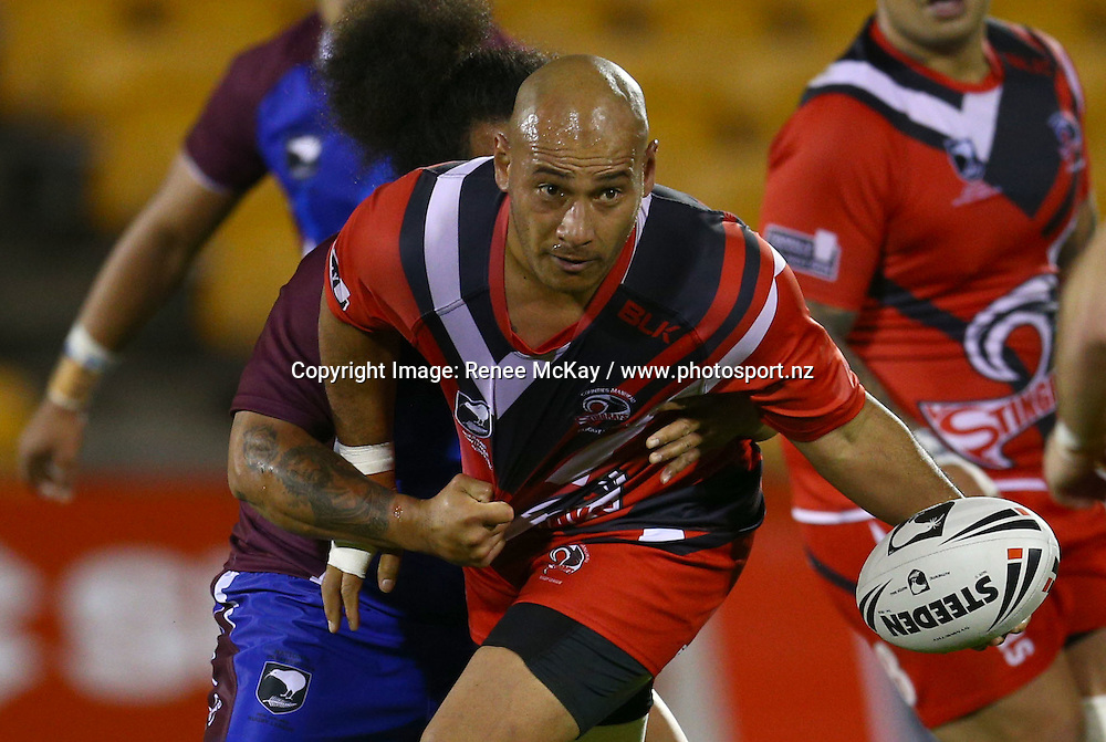 Roman Hifo of Counties offloads the ball at the NZRL national premiership match between Akarana Falcons vs Counties Manukau Stingrays, at Mt Smart stadium, Auckland, 16 September 2016. Copyright Image: Renee McKay / www.photosport.nz