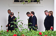 From Left to Right..Obama, Danish PM, Finnish President, Swedish PM, Icelandic PM and Norwegian PM.<br /> <br /> Walking past the Rose Garden following Multi Lateral Negotiations, between the Nordic countries and the USA in the White House.<br /> <br /> White House State Dinner the President and Mrs. Obama host the President of Finland Sauli Niinisto, the Prime Minister of Sweden, Stefan Lofen, the Prime Minister of Norway, Erna Holberg, the Prime Minister of Denmark Lars Lokke Rasmussen and the Prime Minister of Iceland, Sigurdur Ingi Johannsson,