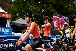 Heidi Franz (USA) waits to sign on for Stage 4 of 2020 Santos Women's Tour Down Under, a 42.5 km road race in Adelaide, Australia on January 19, 2020. Photo by Sean Robinson/velofocus.com