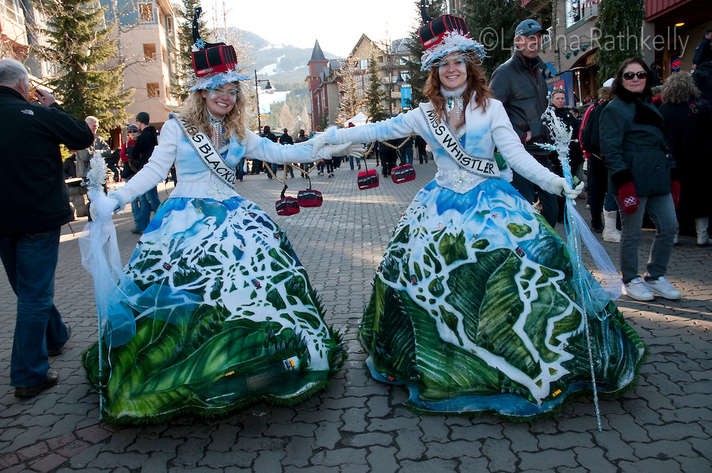 Artist Cary Campbell-Lopes shows her costume creations of the Whistler-Blackcomb Peak to Peak Ladies during the 2010 Olympic Winter Games in Whistler, BC Canada.