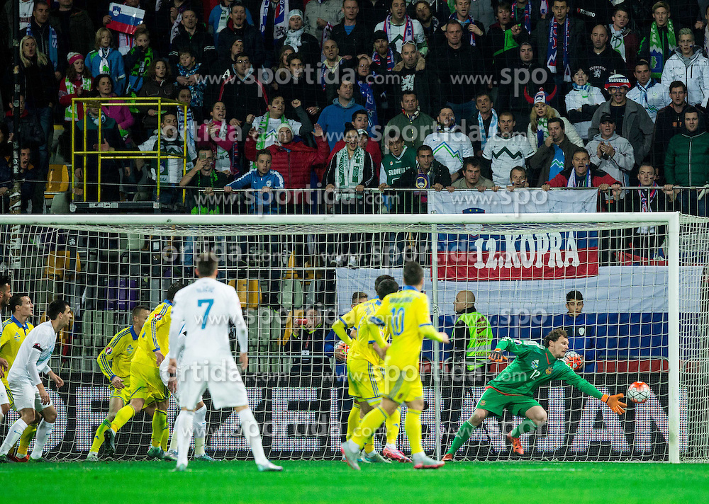 Andriy Pyatov (UKR) in action during the UEFA EURO 2016 Play-off for Final Tournament, Second leg between Slovenia and Ukraine, on November 17, 2015 in Stadium Ljudski vrt, Maribor, Slovenia. Photo by Vid Ponikvar / Sportida