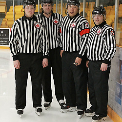 Aurora, ON  - MAR 29,  2018: Ontario Junior Hockey League, North East Conference Championship Series. Game one of the best of seven series between the Wellington Dukes and the Aurora Tigers. The Officiating crew for game one of the North East Conference Championship Series.<br /> (Photo by Tim Bates / OJHL Images)