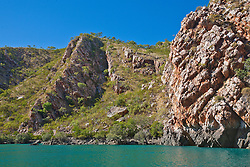 Striking sandstone cliffs near the Horizontal Waterfalls